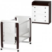 Детская комната Kitelli Amore кроватка-качалка и комод. Характеристики.