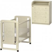 Детская комната Kitelli Micio кроватка-качалка и комод. Характеристики.