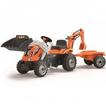 Педальная машина Smoby Трактор строительный с 2-мя ковшами и прицепом. Характеристики.